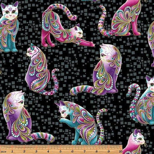NEW! Cat-I-Tude by Ann Lauer - Grizzly Gulch Gallery - Per yard - Benartex - Cats on Black - Main Print