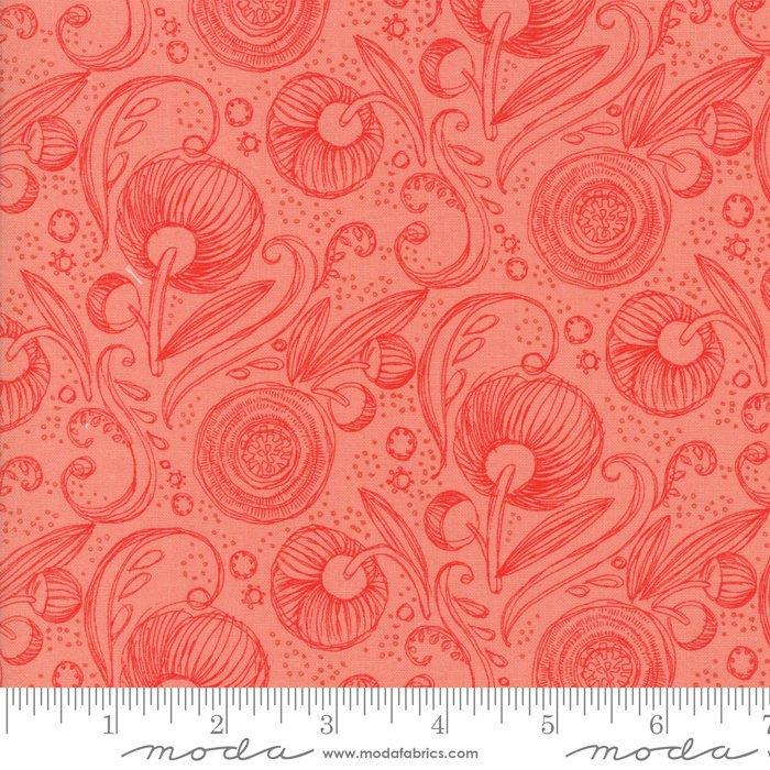 Blushing Peonies - by the yard - MODA - by Robin Pickens quilting fabric - flowers on cream