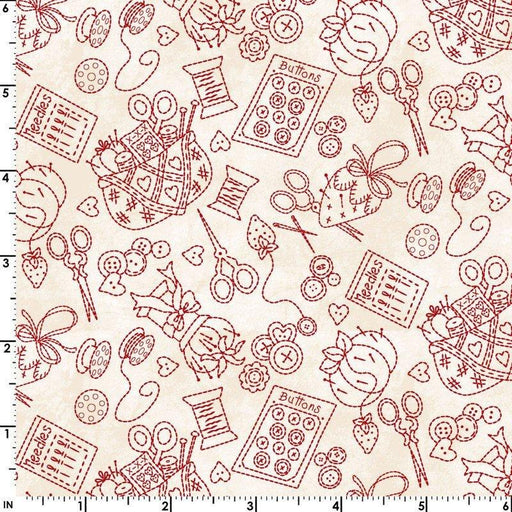 NEW! The Little Things by Robin Kingsley for Maywood - Sold by the yard - red scissors, notions, threads on ecru - MAS 9100 ER