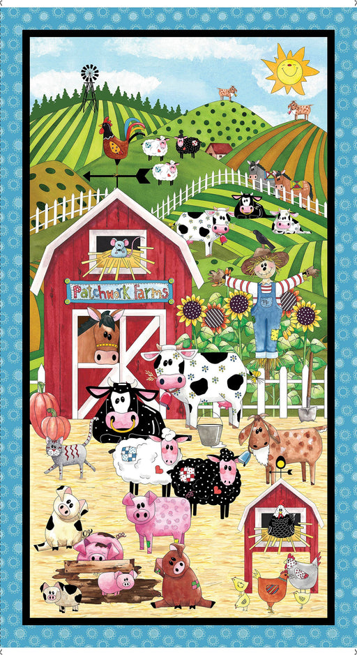 NEW! Patchwork Farms by Desiree Designs - Quilting Treasures - Fun animals & from the farm! Per Yard - Panel - Cows, Farm Animals, barns