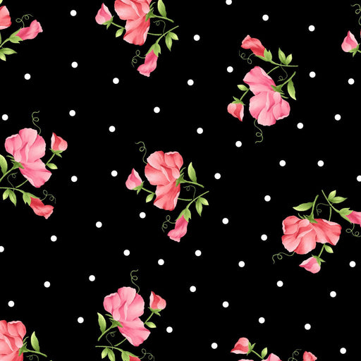 Sweet Pea Flannel by Maywood Studio! - Quilt Market Release - Per yard - Pink small flowers and white dots on black - MASF8123-J