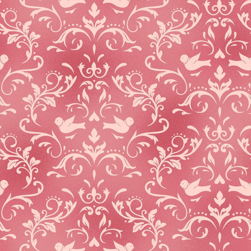 Welcome Home FLANNEL- Maywood Studio - Per Yd - scroll on pink - MASF 8365 P
