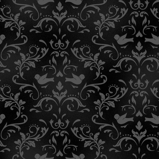 Welcome Home FLANNEL- Maywood Studio - Per Yd - scroll on black or onyx - MASF 8365 J