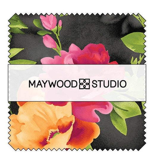 "Paradise by Maywood Studio - Charm Pack (42) 5"" squares - beautiful floral, tonals, blenders, tulips and roses!"