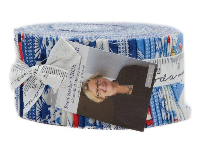"New!  Feed Sacks True Blue - Jelly Roll (40) 2.5"" Strips - Moda - by Linzee Kull McCray of Leave no Scraps behind"