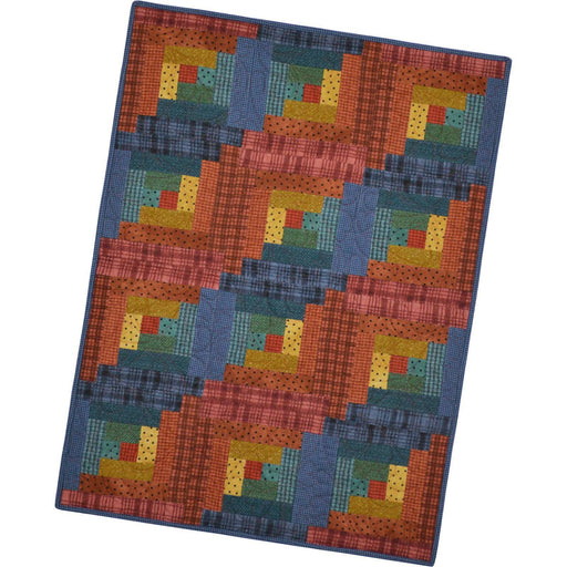"FLANNEL - 12 block ""Sunrise"" - Woolies - Log Cabin Quilt Kit -  Maywood Studio POD MAS02-WOF3 - by Bonnie Sullivan - C"