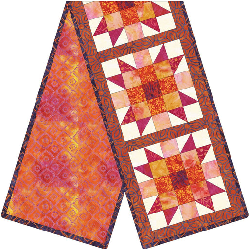Mango Tango Batiks -  Sister's Choice Quilt Kit - POD Table Runner - Maywood Studio - Orange, purple, FIRE!