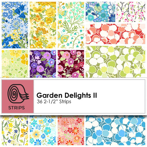 "Garden Delights II Fabric Collection by Jason Yenter - In the Beginning Fabrics - Jelly Roll (36) 2.5"" strips - beautiful floral designs!"