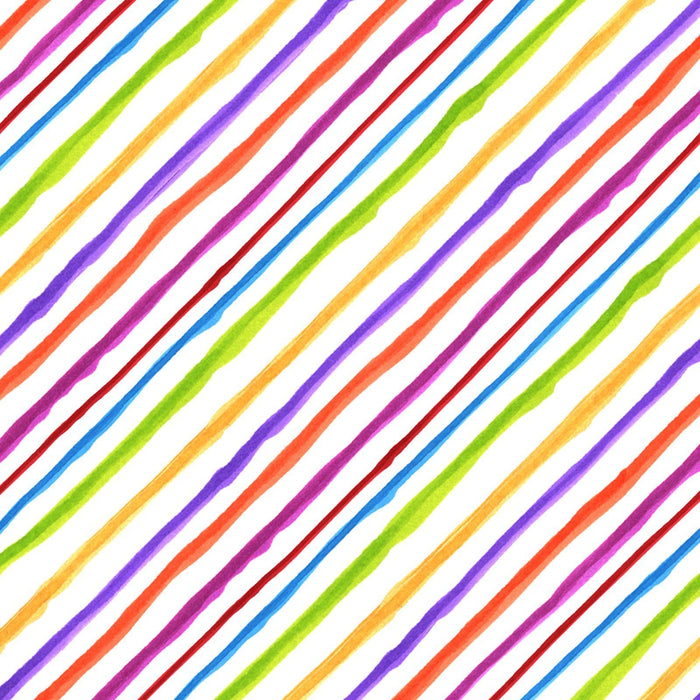 Bias Stripe-per yd - Loralie Harris Designs - on Black - diagonal multi colored stripe