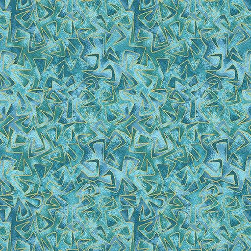 NEW! Cat-I-Tude by Ann Lauer - Grizzly Gulch Gallery - Per yard - Benartex - Triangular Motion Aqua - Blender - Tonal