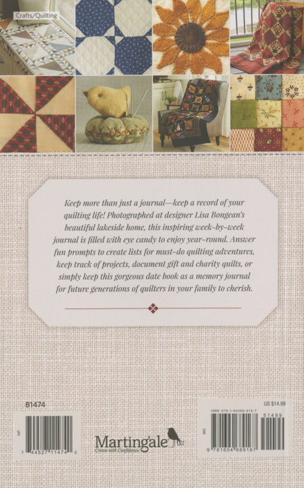 A Quilter's Journal - great gift! 112 pages with eye candy along the way! - pictures of Lisa Bongean's projects and home!