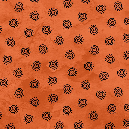 Halloweenie - Per Yd - Maywood Studio - by Robin Kingsley - black geo swirls on orange -