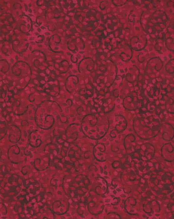 Essentials - Per Yd - Wilmington Essentials - 26035 Ruby Red color 333 leaves scroll fabric - tonal blender