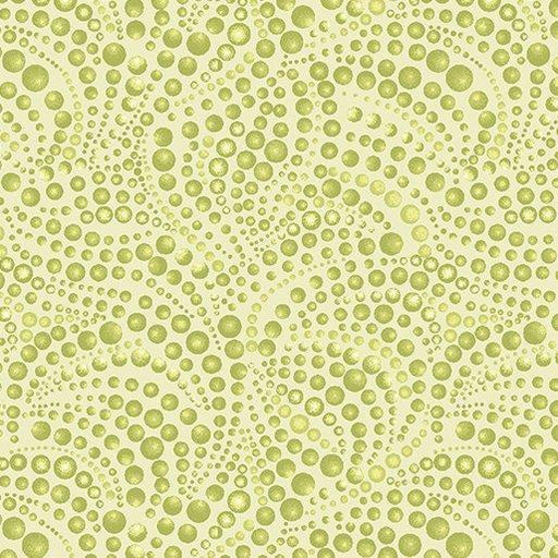 NEW! Cat-I-Tude by Ann Lauer - Grizzly Gulch Gallery - Per yard - Benartex - Beaded Swirls Light green - tonal - blender