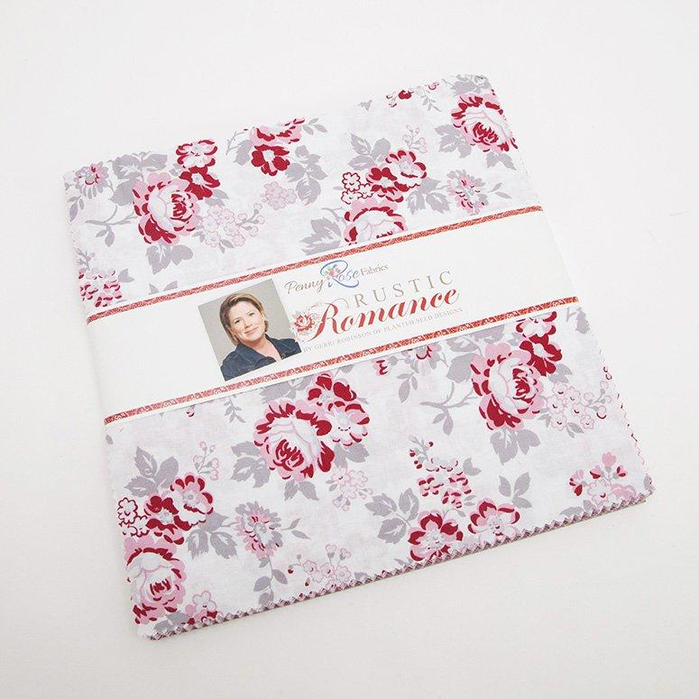 "Rustic Romance- Layer Cake - Riley Blake - by Gerri Robinson - Red, pink, white, grey, beautiful! 10"" stacker (42) squares"