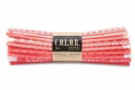 "NEW! Color Cuts - Dessert Cuts - Moda - (12) 5"" Strips - Daybreak - coral, pink, peach - great tonals and blenders!"