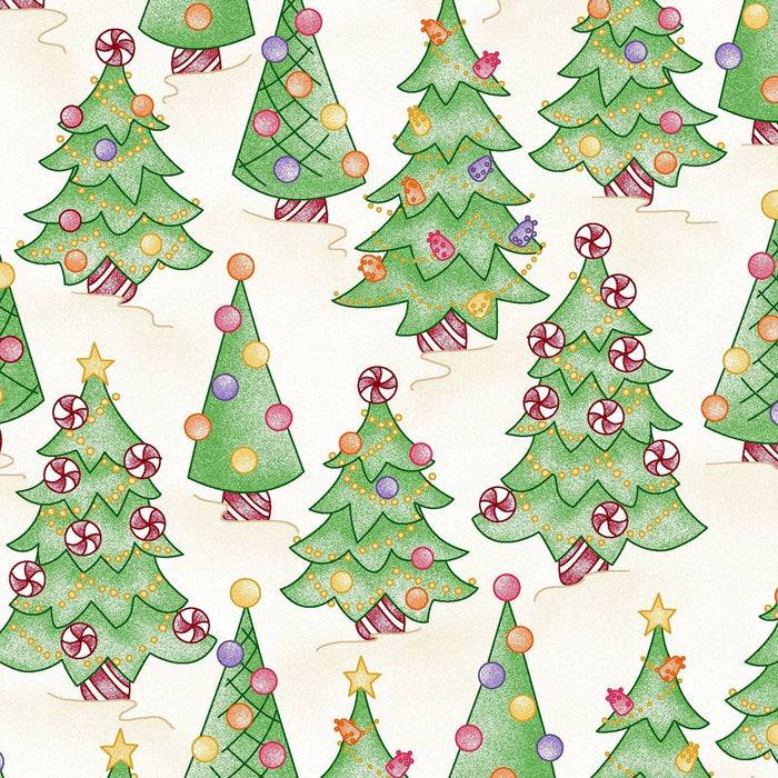 "Gingerbread Christmas - Christmas quilting fabric -LAST PIECE 25"" - Maywood Studio - Meg Hawkey - Tossed Christmas candy on cream or ecru"