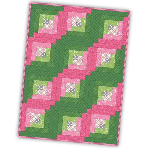 12 block Log Cabin Quilt Kit - Maywood Studio - Kimberbell Basics - Kim Christopherson - Pink and Green - precut quilt kit - POD