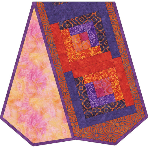 NEW! Mango Tango - Log Cabin Table Runner Quilt Kit - POD Table Runner - Maywood Studio - Orange, purple, FIRE!