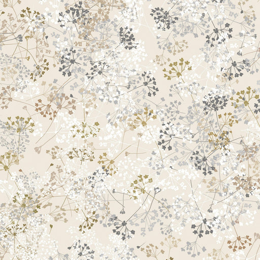 Essence of Pearl - Per Yard - Maria Kalinowski - Kanvas Studio -dragonflies, flowers -Queen Anne's Lace on beige-8730 P 07