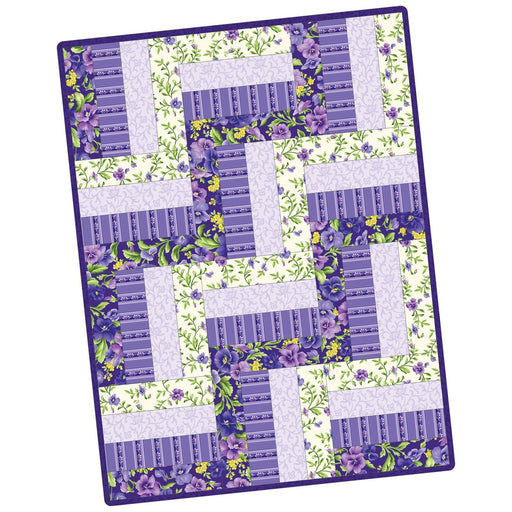 NEW!  Emma's Garden - 12 Rail Fence Precut Quilt Kit- POD - Maywood - by Debbie Beaves - Beautiful pansies and purple, white, green!