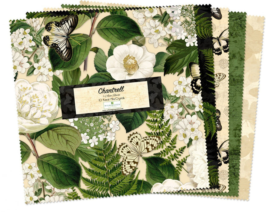 "EARLY RELEASE! Chantrell - 5 Karat Mini Crystals by Anne Rowan - (24)  5"" Squares - Beautiful! green, cream, black, butterflies"