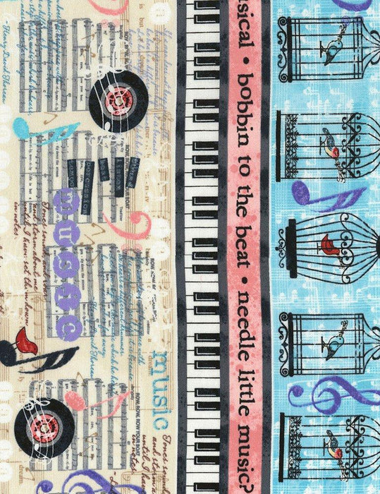 Row by ROW Experience - Timeless Treasures - Per Yard - 2018 Row by Row - Sew Musical designed by Debra Gabel - Water Color Lyrics