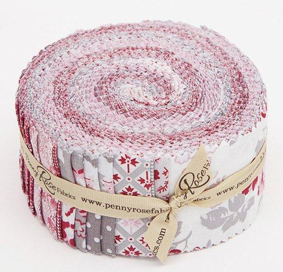 "Rustic Romance- Jelly Roll - Riley Blake - by Gerri Robinson - Red, pink, white, grey, beautiful! Rolie Polie (40) 2.5"" strips"