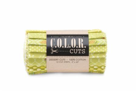 "NEW! Color Cuts - Dessert Cuts - Moda - (12) 5"" Strips - Sprouts - greens - great tonals and blenders!"