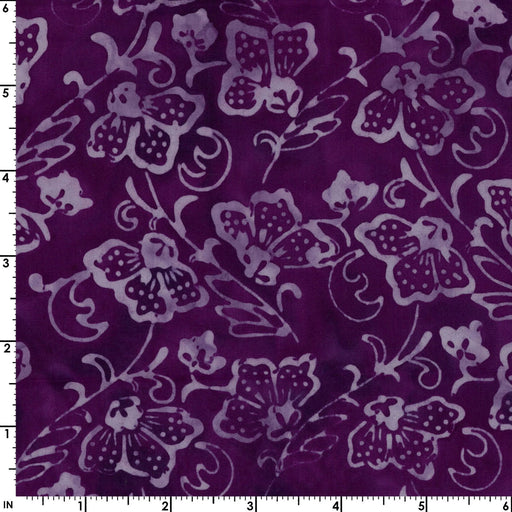 Coastal Chic Batiks - by Monique Jacobs for Maywood - per yard - Wavy flowers on Dark Purple or wine - tonal blender - MASB25 - 026