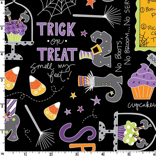 NEW! Broomhilda's Bakery - per yard - Maywood Studio - by Kim Christopherson -Kimberbell Designs -Main Print Tossed Words and Candy on Black