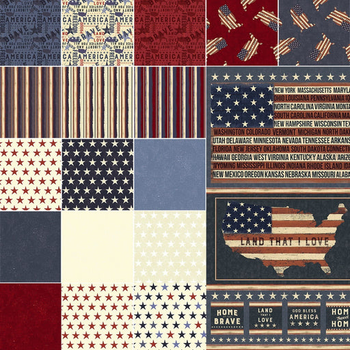 "Land That I Love - Charm Pack (42) 5"" squares  - Clothworks by Dan DiPaolo - patriotic"