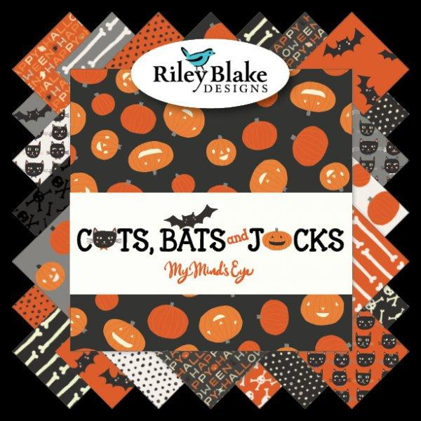 "NEW! Cats, Bats, and Jacks - Layer Cake  (42) 10"" squares - Stacker - Riley Blake  by My Mind's Eye, Marcia Cornell, quilt fabric"