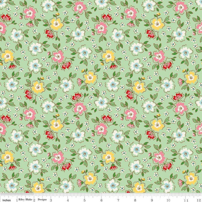 "Mon Beau Jardin - Fat Quarter Bundle (21) 18"" x 22"" pieces - Riley Blake - by Nadra Ridgeway - Beautiful floral prints in pink, aqua, green!"