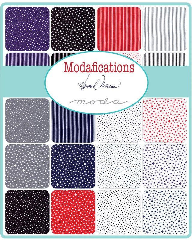 "NEW! Modafications NOT METALLIC - Fat quarter Bundle - Moda - (21) 18"" x 22"" pieces - by Howard Johnson - Red, Blue, Grey, White, Black"