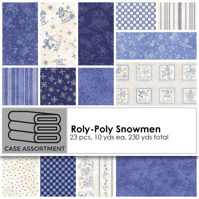 NEW! Roly-Poly Snowmen by Robin Kingsley for Maywood - Sold by the yard - White Snowflakes on blue - MAS 8626 B