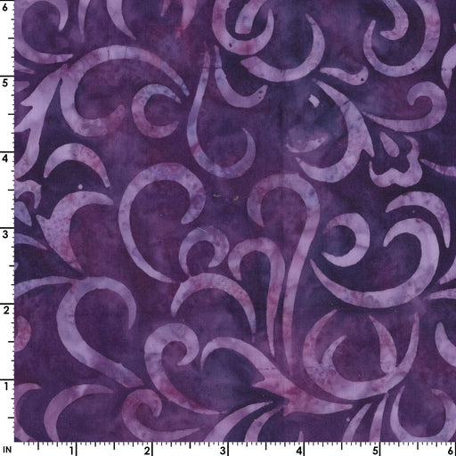 Coastal Chic Batiks - by Monique Jacobs for Maywood - per yard - Purple swirls or scroll - great tonal or blender - MASB21 - 012