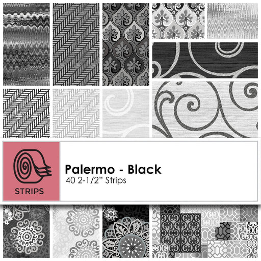 "Palermo Black - Jelly Roll - Kanvas Studios - (40) 2.5"" strips - Gorgeous! - Paisley, swirls, tonals, blenders! black, white, grey"