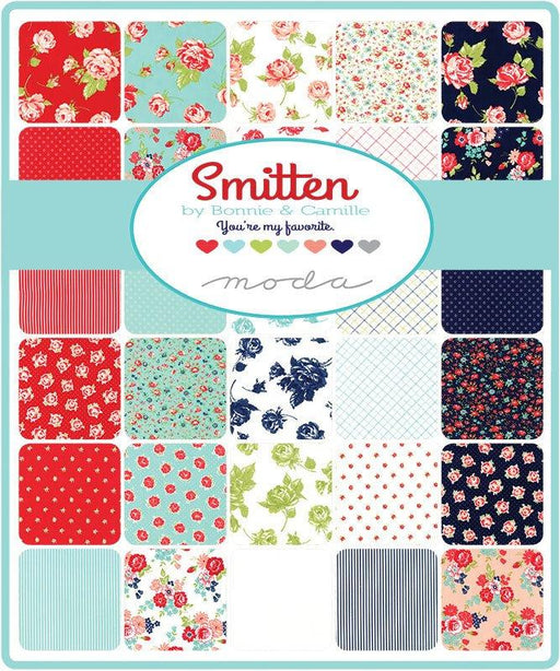 "NEW! Smitten - Honey Bun (40) 1.5"" strips - MODA  - by Bonnie and Camille - floral, plaid, stripes, aqua, navy, coral"