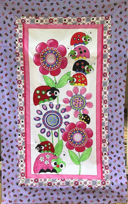 Lady Bugs -Panel Precut QUILT KIT -Quilting Treasures - Lazy Little Lady Bugs -Desiree's Designs - Quick, easy project, great for beginners!