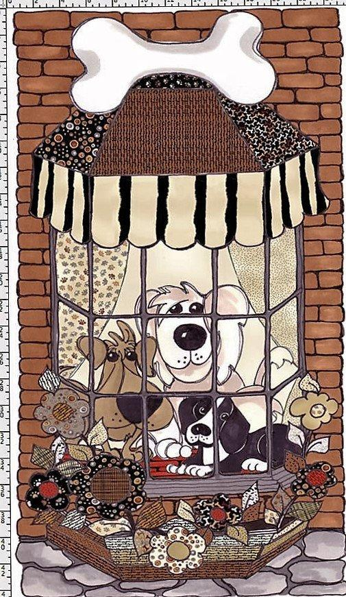 Doggie Delight - Doggies in the Window - Panel - Loralie Harris Designs - Cute Dogs