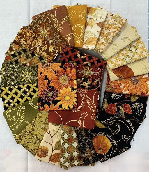 "Autumn Splendor - Fat Quarter Bundle (26) 18"" x 21"" pieces - Benartex -Kanvas Studios- Maria Kalinowski - fall fabric, leaves, harvest, Thanksgiving"