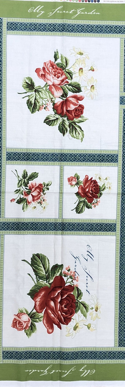 Copy of My Secret Garden by Marti Mitchell - 1/2 Panel REMNANT - Maywood Studio - Gorgeous florals and tonals !