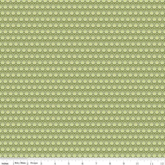 Into the Garden - per yard - Riley Blake - by Amanda Herring - Garden Feather Green - C - RebsFabStash