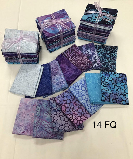 "Island Batik Sky & Sea - PROMO Fat Quarter Bundles - 18"" x 21"" - by Kathy Engle for Island Batiks - Beautiful Collection! - Cool colors - blues & purples - RebsFabStash"