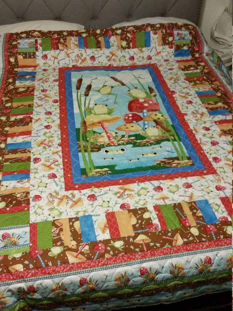 It's A Pond PARTY!! - Panel - Quilting Treasures - Frogs and Mushrooms! - RebsFabStash