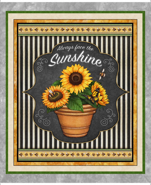 IT'S HERE! - Always Face the Sunshine fabrics - per yard - Dan Morris for QT Fabrics -Sunflowers and bees and honeycomb! Oh my! - RebsFabStash