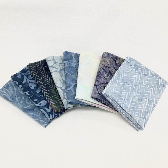 "Java Batiks - Sky and Sea - PROMO HALF YARD Bundle - (7) 18"" x 43"" pieces - by Maywood - blues, aquas - RebsFabStash"