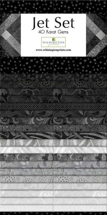 "Jet Set - (42) 5"" squares - Wilmington Prints - karat Gems - Shades of Gray to Black - great blenders and tonals - RebsFabStash"