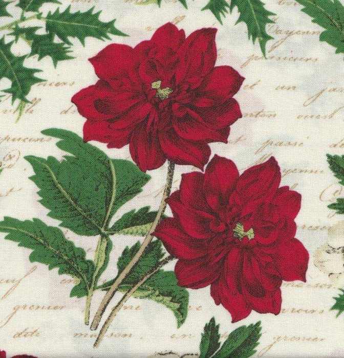 Per Noel Joyeux Noel   per yard   Studio e   Poinsettias and Holly
